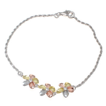 YELLOW ROSE GOLD SILVER 925 RHODIUM TRICOLOR HAWAIIAN 3 PLUMERIA BRACELET ROPE