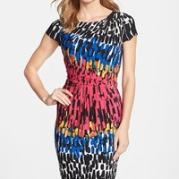 Petite Women's Ellen Tracy Print Jersey Sheath Dress