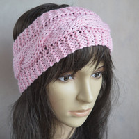 Pink Headband, Pink Accessories, Hand Knit Cable Ear Warmer, Soft and Warm Headband, Soft Merino Wool