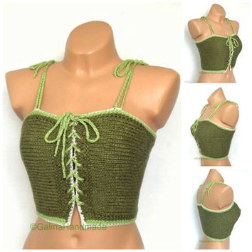Knit Summer  Top Halter Top  Tank Top  Bikini Top  BacklessTop Dance Top Festive Top Dance Top  Green