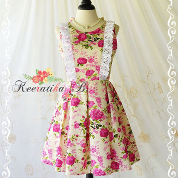 Alice In Wonderland - Alice Floral Dress Cut Off Back Tea Dress Pink Floral Dress Backless Prom Party Dress Wedding Bridesmaid Dress XS-XL