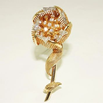 Vintage 14K Diamond Day Night Brooch Gold Flower Fur Clip Pin
