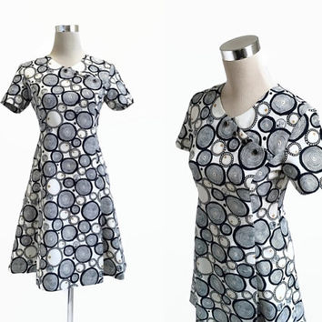 1960's Mini Dress - Mod Retro - 60's Vintage Dress - Blue Black Circles Dress