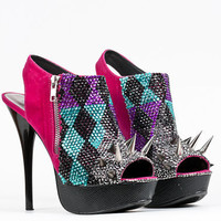 Jeweled and Spiked Hot pink peep toe sky high heels 7