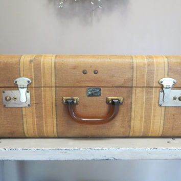 Multnomah Hollywood Luggage Pinstriped Luggage Vintage Suitcase Stackable Luggage End Table Bakelite Handle Vintage Bakelite Storage Box