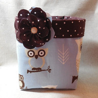 Adorable Blue and Brown Owl Fabric Basket With Detachable Fabric Flower Pin