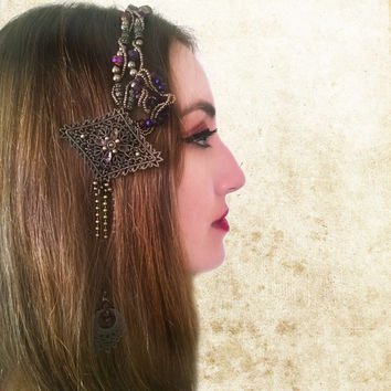 Tribal Fusion Headpiece, Purple Crystal Belly Dance Headdress, Hand Bead Hair Clip