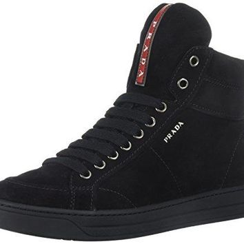 Prada Women's Hi-Top Sneaker, Black, 39 M EU/9 M US