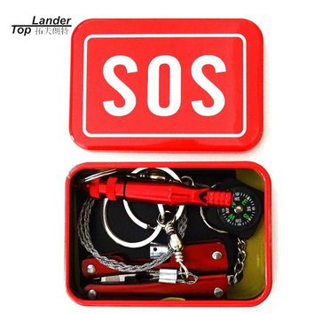 Outdoor Hiking Camping Tools Emergency Tool Set Multi-function Wildlife SOS Tool Box Travel Kit Survival Camping Equipment Gear