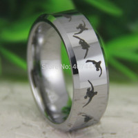 Free Shipping USA UK Canada Russia Brazil Hot Sale 8MM Silver Beveld Duck Hunting Design New Men's Fashion Tungsten Carbide Ring
