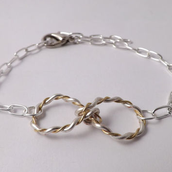 Silver Plated Infinity Charm Bracelet - Hand twisted - Made in USA- easter gift, birthday gift