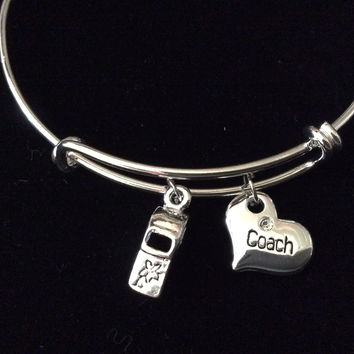 Coach Heart 3D Whistle Silver Expandable Charm Bracelet Adjustable Wire Bangle Stacking Handmade Trendy Team Gift
