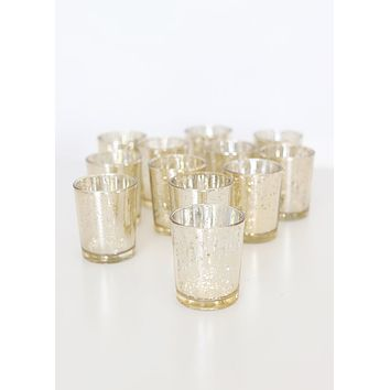 "Gold Mercury Glass Votive Candle Holder - David Tutera -2.5"" Tall"