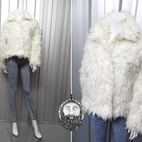 Vintage 90s White Club Kid Shaggy Jacket 90s Goth Fluffy jacket Furry Coat Seapunk Nu Goth Rave Jacket Cybergoth Faux fur Fuzzy Jacket 1990s
