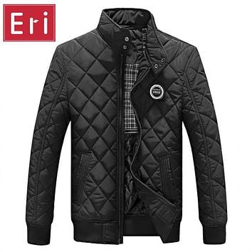 2017 Casual Quilted Jacket Men Warm Black Brand Outwear Chaquetas Plumas Hombre Mens Jackets Coat Stand Collar Slim Clothes X322