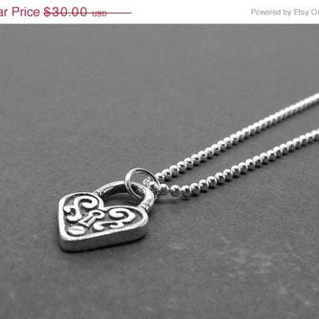 Mothers Day Sale Heart Padlock Necklace, Sterling Silver