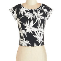 ModCloth Short Cap Sleeves Cropped Palm and Cool Top
