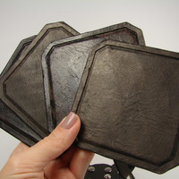 leather coasters. Set of square hand tooled leather coasters