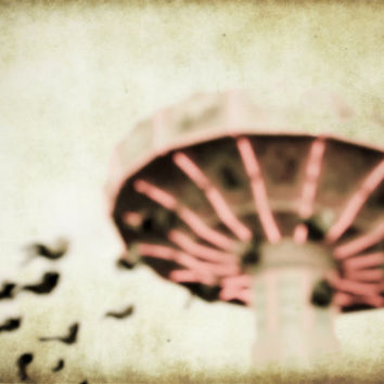 Photography, Surreal Art, Carnival Ride Photograph, Dreamy Blur Coral Pink Whimsical Abstract Art