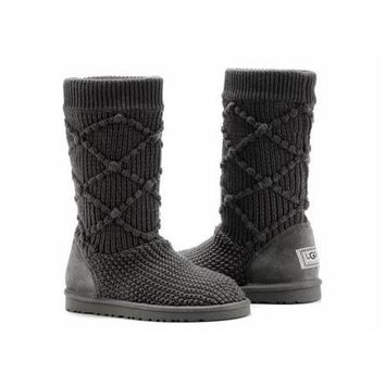 Uggs Boots Black Friday Knit Classic Argyle 5879 Charcoal For Women 95 33