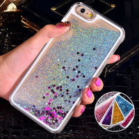 Bling Liquid Sand Star Quicksand Clear Hard Case For iPhone 6S Case 4S 5C 5S 6 Plus 7 Plus