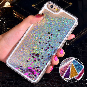 Bling Liquid Sand Star Quicksand Clear Hard Case For iPhone 6S C 18573f99a