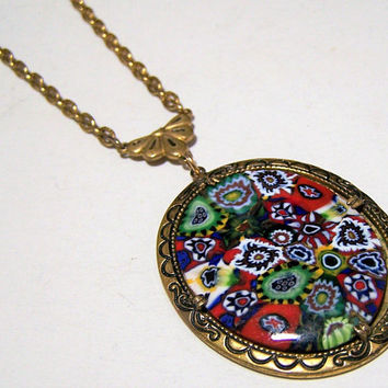 Murano Millefiori Pendant Necklace, Multi Color Art Glass Cabochon, Antiqued Gold Tone, Mid Century Italian Jewelry 118g