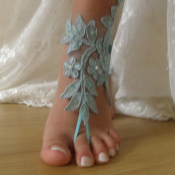 Mint green Barefoot Sandals, french lace, Nude shoes, , Foot jewelry,Wedding, Victorian Lace,  Yoga, Anklet , Belly Dance