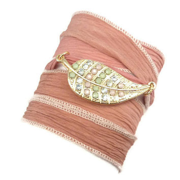 Silk Wrap Bracelet with Leaf Connector  by charmeddesign1012