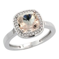 14K White Gold Natural Diamond Morganite Ring Cushion-cut 8x8mm, sizes 5-10