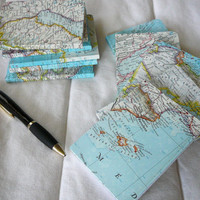 Vintage Map Covered Mini Composition Notebook