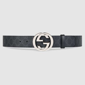 Gucci - GG Supreme belt with G buckle - Grey- Guaranteed authentic!