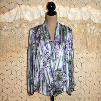 Gray Purple Paisley Blouse Bohemian Silky Drape Print Top Loose Fit Dressy Long Sleeve Shawl Collar Ruffle Front Large Womens Clothing