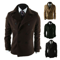 Double Breasted Slim Fit Wool Pea Coat