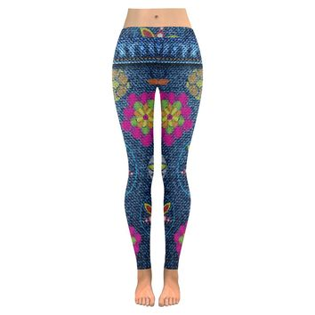 print flower jeans Low Rise Leggings (Invisible Stitch) (Model L05)