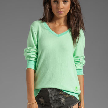 Wildfox Couture Baggy Beach V-Neck in Mint Julep from REVOLVEclothing.com