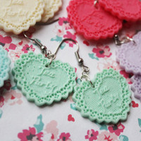 Kawaii Tea Party Heart Dangle Earrings