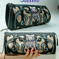 Clutch Bag of genuine leather lambskin and printed suede, fashionable design by Sofalee. Evening bag Black Bronze color for women. In stock.