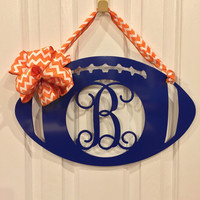 SALE! Football Door Wreaths, Monogram Door wreath, Fall door wreath, football, Personalized team colors