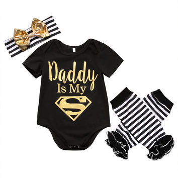 3PCS / Dad is My Superman Short Sleeve Romper + Striped Leg Warmer + Headgear Outfit for NB Girls