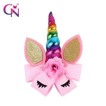 "8"" Rainbow Unicorn Horn Hair Bow With Clip For Girls Kids Handmade Glitter Cat Ear Bow Hairgrips Unicorn Party Hair Accessories"