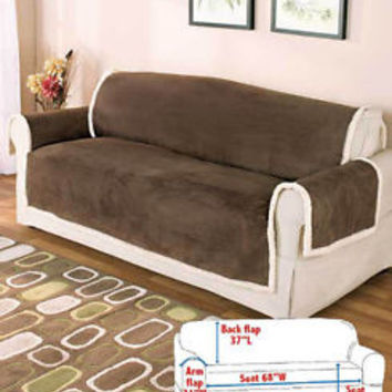 Microsuede & Sherpa Sofa Couch Cover Furniture Protector From Stains Pets -Brown