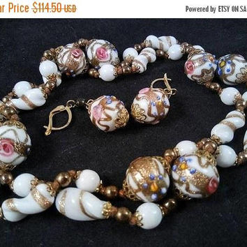 ON SALE Vintage Wedding Cake Glass Beaded Necklace Earring Set- 50's 60's High End Quality Jewelry Vintage Italian Venetian Beads, Murano Gl