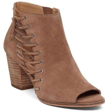 LMFYW3 Lucky Brand Hartlee Sesame Oiled Suede Heeled Booties