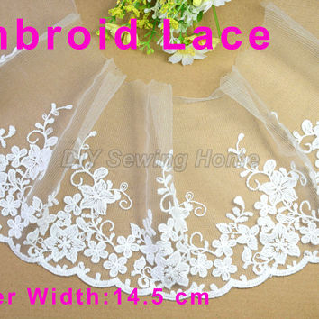 14.5cm width cotton Embroid sewing ribbon guipure lace trim or fabric warp knitting DIY Garment Accessories free shipping#3006