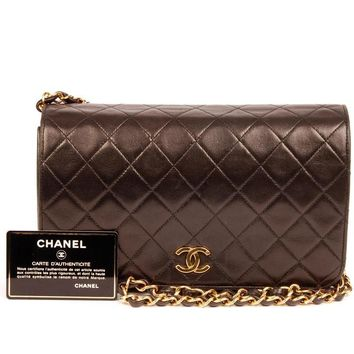 Chanel Quilted Lambskin Leather Single Flap 5418 (Authentic Pre-owned)