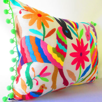 Otomi Tribal Pillows Covers, Colorful Pillow Covers, Bohemian Decor, Boho Bedding, Green Pillow Cover 14x14