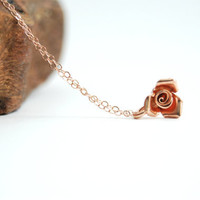 Ipolani necklace - Pink rose necklace, delicate rose gold necklace, flower charm necklace, girlfriend gift, valentine's gift, maui, hawaii