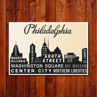 Philadelphia Typography Poster. Philly Skyline Typography Art Print. Holiday Gift. Inspirational Art. City Art Print.