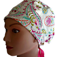 Women's Pixie Surgical Scrub Hat Cap in Happy Nest Paisley